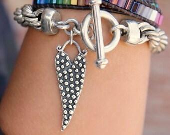 STATEMENT Jewelry, Chunky Bracelet, Statement Bracelet, Chunky Heavy Chain Bracelet, Statement Chunky Bracelet Silver Twisted Chain Bracelet