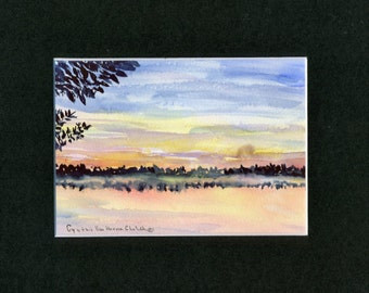 Sunset Sky Watercolor-Landscape-Wedding-Man Gift-Art Collector-Original