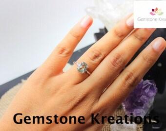 Green Amethyst Ring, 925 Sterling Silver Ring, 18K gold plated Ring, Stacker Rings, Birthstone Rings, Midi Rings
