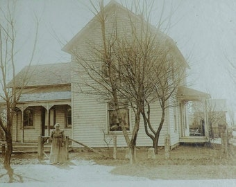 Old House Bare Trees Mounted Photo Woman Standing in Yard