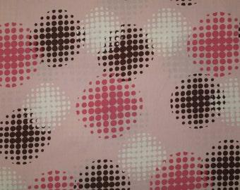 "Robert Kaufman Mod pink and brown cotton fabric 1 yard 26"" X 42"""