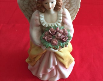 Vintage Home Interiors Angel with roses Porcelain Figurine  # 8806