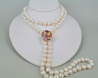 Champleve Butterfly lock pendant Pearl Necklace, Made by David Kuo