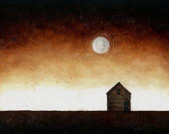 "Art oil painting // Old house - moonlight // ""Islington # 19"""