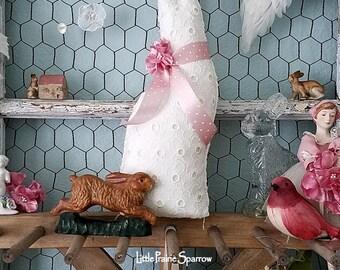 Bunny Rabbit, Stuffed Fabric Bunny, Fabric Rabbit, Rabbit Pillow, Easter Bunny, Cloth Rabbit, Easter Decor, Easter Gift, Shabby Chic Rabbit