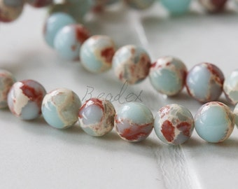 One Full Strand / Agalmatolite / Natural Semiprecious Stone