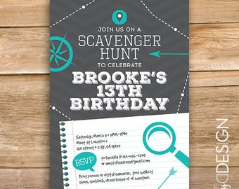 Mall scavenger hunt etsy scavenger hunt birthday party invite scavenger invitation scavenger game any age printable instant download filmwisefo