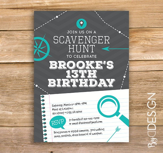Scavenger Hunt Birthday Party Invite scavenger invitation