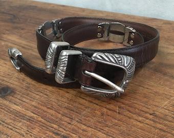 Beautiful Vintage Genuine Leather Southwestern Belt - Womens Western Belt - Concho Silver - 70s 80s - Brown Leather - Concho Belt Buckle