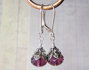Amethyst Earrings 9x6mm Czech Glass Dangle Sterling Silver Leverback Ear Wires