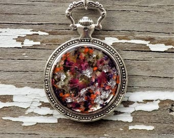 SALE Pocket Watch Style REAL flower pendant necklace, boho, bohostyle, Jewelry, Charm, Preserved Flowers, silver necklace, women, accessory