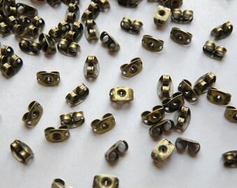 100 Butterfly Earnuts antique bronze for post earring backs 6x4mm PE034Y-AB