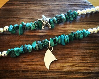 Sea Star or Fin Turquoise Bracelet, Starfish Bracelet, Surf Jewelry, Ocean Jewelry, Ocean Jewelry, Gift For Her, Mermaid Jewelry, Gemstone