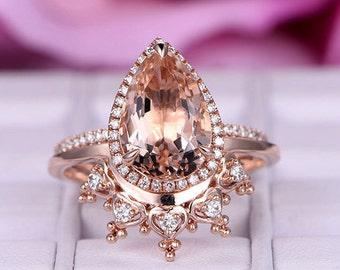 2 pcs 8x12mm Pear Cut Morganite Engagement ring/14k Rose gold/Halo Stackable/Art deco Crown wedding band/Heart shaped Band/Half erternity