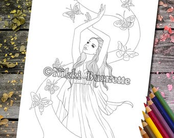 Coloring Page - Digital Stamp - Printable - Fantasy Art - Stamp - Adult Coloring Page - ELISAE - by Nikki Burnette