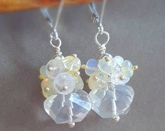 15% Off  Petite Bridal Earrings Crystal Quarts with Moonstone and Ethiopian Opal Cluster Earrings on Sterling Silver Leverbacks