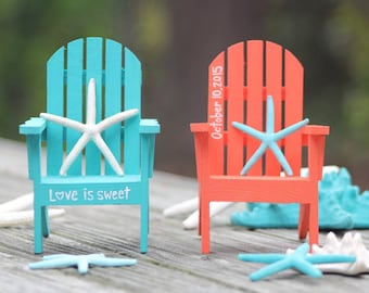 High Quality Custom Personalized Hand Painted Miniature Adirondack Chair Cake Topper    Beach Destination Wedding   Turquoise Coral