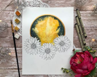 "9x12 Original ""Sunflower Galaxy Wreath"" watercolor painting"