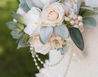 Custom Eucalyptus Boho Bouquet, Faux Bouquet, Silk Flower Bouquet, Bridal Bouquet, Artificial Bouquet, Silk Peony Bouquet, Faux Bouquet