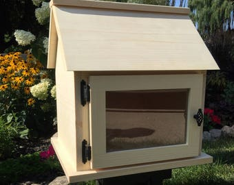 Handcrafted Unfinished *Solid Wood* Little Library Kit. Neighborhood Library KIT. Book Box. Lending Library Exchange. *Ready to Assemble*
