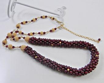 Crochet Gemstone Rope Necklace Red Garnet Beaded Crochet Jewelry; Gold Beaded Necklace Vintage inspired; Birthday Anniversary gift for Her