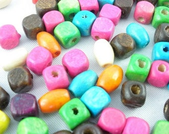 300 beads 5mm olive wood and square multi-colored, discount price
