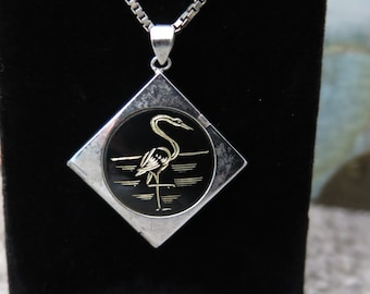 Vintage Japanese Amita Sterling Silver Locket Pendant And Chain Double sided Locket