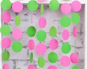 Watermelon Theme Party Garland - Lime Green Circle Garland - Hot Pink Garland - Girl's Birthday Decor