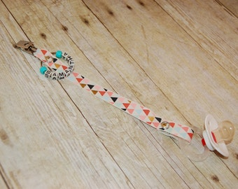 Pacifier Clip , Triangles, Personalization Available, Ready to Ship