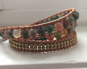 Trendy Popular Selling Bohemian trendy wrap real leather, triple wrap agate stone beads and real copper3xwrap