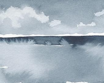 """L'hiver s'est glissée, Original aquatiques abstrait peinture, aquarelle, bleu Indigo, 4 """"X 6"""""""