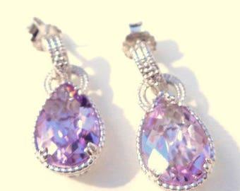 Vintage 8.00ctw Genuine Amethyst Sterling Silver, Ladies Dangle Earrings, Gemstone Earrings, Gem Drop Earrings, Natural Stones