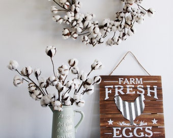 "20""H, 12 Bolls Farm House Rustic Natural Cotton & pod Stems spray pick Branch,  farm ""fresh eggs"" wood sign wall decor"