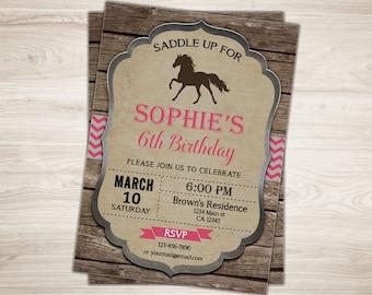Horse Birthday Invitation. Horse Invitation. Pink Horse Birthday Invite. Rustic Wood Shabby Chic Horse Invitation. Pony Birthday Invitation