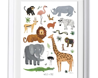 Safari Animals Art Print