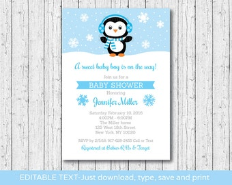 Cute Penguin Baby Shower Invitation / Penguin Baby Shower Invite / Winter Baby Shower / Snowflake / INSTANT DOWNLOAD Editable PDF A142