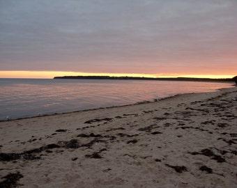 Beach Card at Sunset - Prince Edward Island, birthday card, thank you card, beach wedding card, sandy beach, purple sunset, seagulls