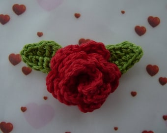 Red rose with leaves crochet