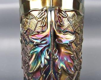 Carnival Glass - Dugan / Diamond MAPLE LEAF Amethyst Tumbler