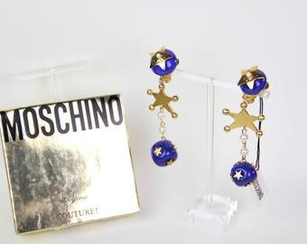Moschino Ohrringe Vintage Ohrclips Schmuck Couture 80er Jahre 90er Jahre riesige Sterne gefälschte Perlen