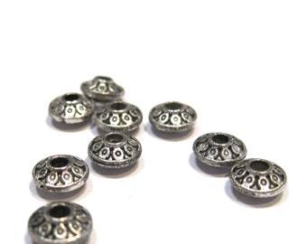 Metal UFO Spacers 6.5mm - Antique Silver - Pack 50