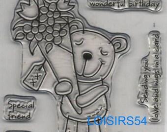 Clear stamp Teddy bear decor 6 pieces