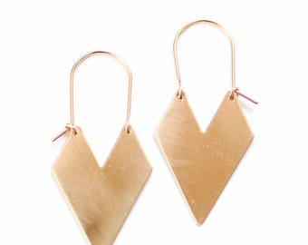 Chevron Arrow Earrings | Hoop Earrings | Brass Chevron Earrings | Gold Chevron | Silver Chevron | Brass Arrow | Gold Arrow | Geometric