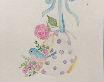 Watercolor Teacup, Ribbon, Bird and Roses