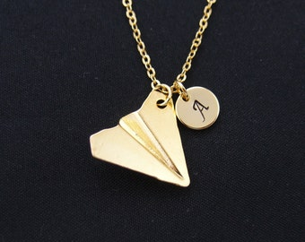 paper airplane necklace, gold filled, initial necklace, one direction, Harry styles, gold plane charm on gold chain, birthday gift, for him