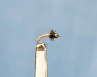 3 Bead Head Brassie Midge, #20, Fly Fishing Flies, Trout Flies, Midge Flies, Hand Tied Flies, Flies For Fishing