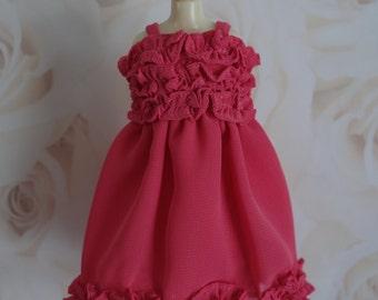 Flirty Coral Pink Ruffle Dress * Blythe * Pullip *