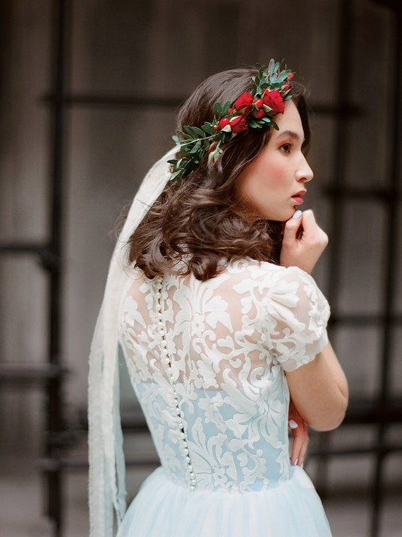 Blue Lace and Tulle Wedding Dresses