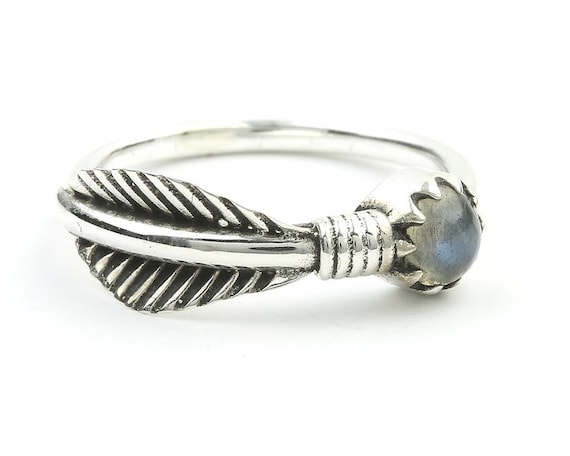 Labradorite Feather Ring, Sterling Silver Labradorite Ring, Stone Jewelry, Gemstone, Crystals, Boho, Gypsy, South Western