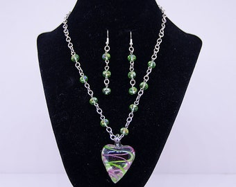 Glass Heart Necklace with earrings